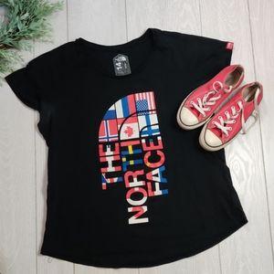 The North face black RU14  logo flag T shirt